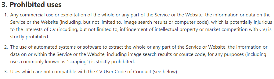 Prohibited Uses Terms and Conditions